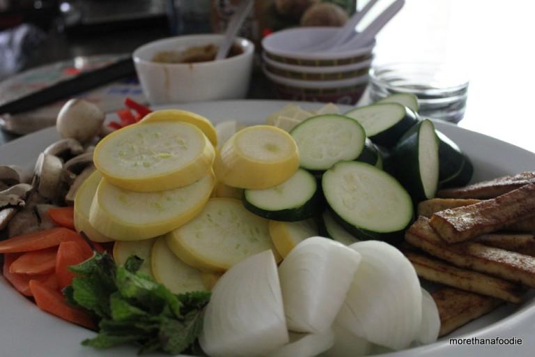 sliced yellow squash, sliced zuchinni