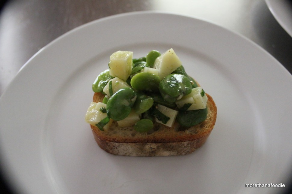 fava beans pecorino romano on tuscan bread