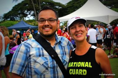 Amy and I at the finish of the 4th Annual Kaua'i Marathon. GO GUARD!