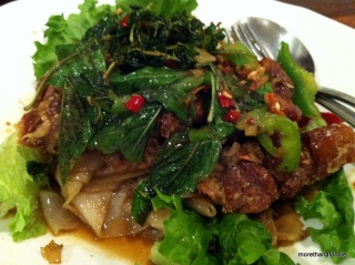 Crispy Duck on Pan Fried Drunken Noodle