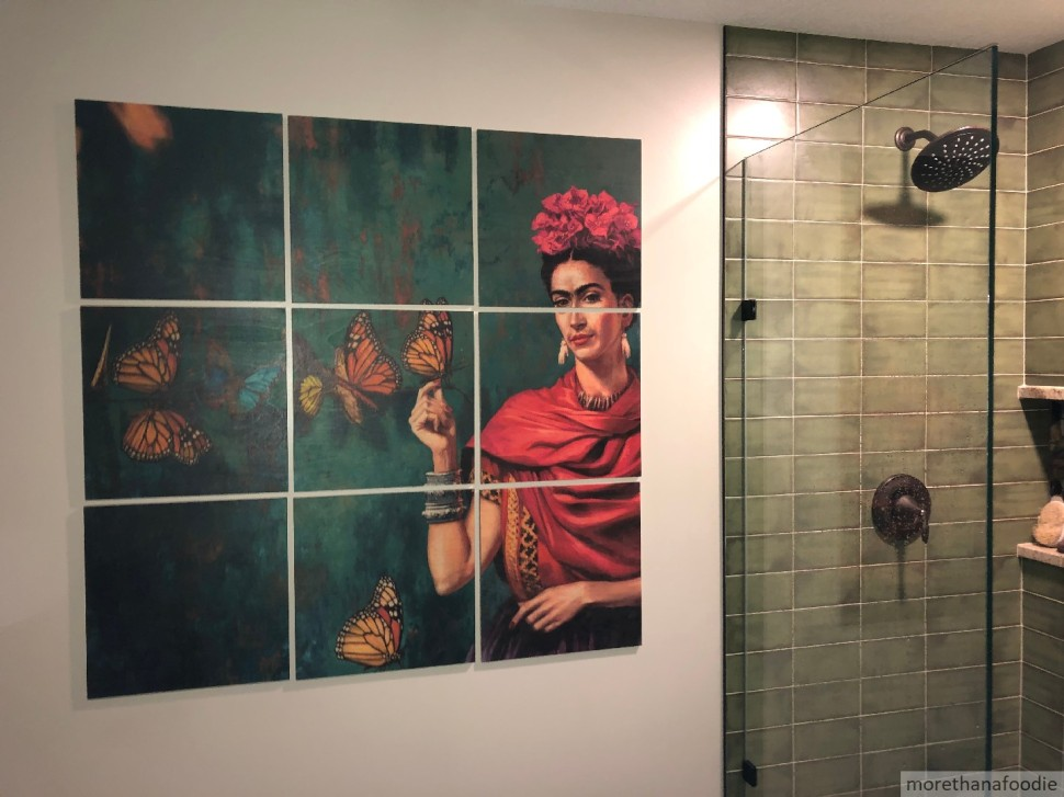 green walk in shower frida kahlo remodeled bathroom